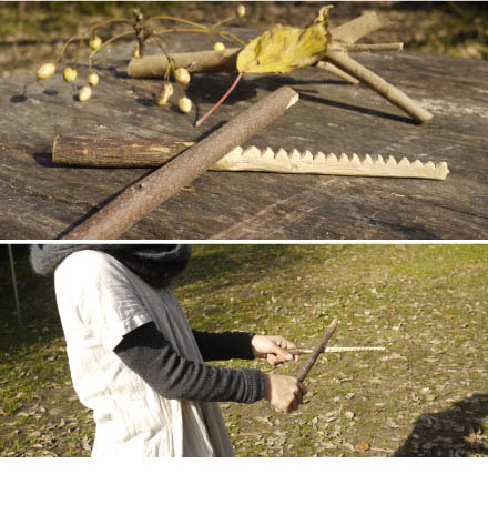 原っぱアトリエ「竹や木の枝で楽器つくり」